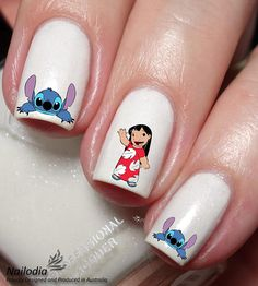 Excited to share this item from my shop: Lilo and Stitch Disney Nail Art Sticker Water Transfer Decal Disney Acrylic Nails, Disney Nails, Cute Acrylic Nails, Cute Nails, My Nails, Nail Art Eau, New Nail Art, Cool Nail Art, Disney Nail Designs
