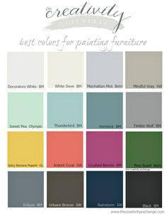 16 of the best paint colors for painting furniture or cabinets. The Creativity Exchange