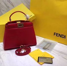 fendi peekaboo mini red Fendi Mini Bag bc33e57b28250