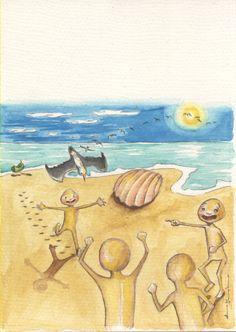 """Ilustrações do conto de Ana Margarida Leitão """"Grão de areia"""""""