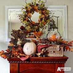 Rustic and Elegant Fall Mantel Diy Mantel, Fall Mantel Decorations, Thanksgiving Decorations, Mantel Ideas, Decor Ideas, Fall Home Decor, Autumn Home, Outdoor Thanksgiving, Autumn Display