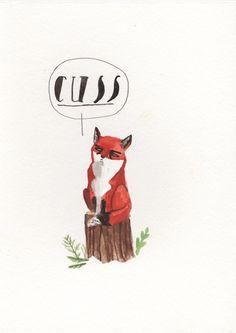 Dick Vincent Illustration Print via @etsy #wesanderson #fox #cuss #wes_andersn #fantastic _mr_fox