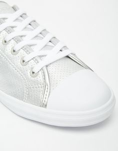 Lacoste | Lacoste Ziane Silver Leather Lace Up Sneakers at ASOS
