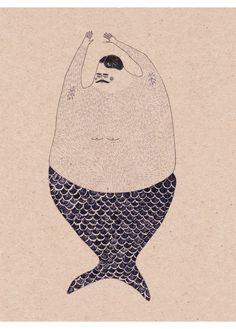 """Dear Hairy Mermaid"" by Anna Maria Lubinska #illustration"