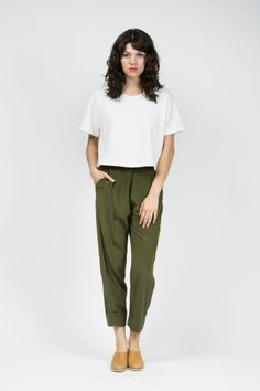 I love this style of pants. And the olive with mustard idea is perfect.