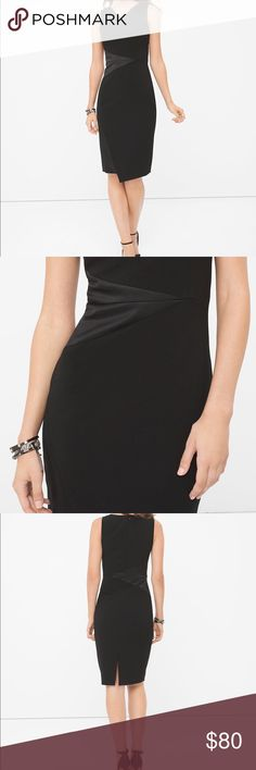 """GORGEOUS LBD SATIN-BLOCKED BLACK SHEATH DRESS New without tags. This black satin dress has been a fixture at cocktail parties for generations. So we brought it 'into the now' by placing diagonal satin panels along a matte-knit sheath for an edgy evening look. Sleeveless satin-detail sheath.                                             Lined with back zipper. Body: polyester/rayon/spandex; insert: polyester/spandex. Machine wash. Approx. 40"""" from shoulder. White House Black Market Dresses"""