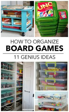 11 Ways To Finally Get Your Board Games Organized Playroom Organization Board Finally Games Organized Ways Board Game Organization, Board Game Storage, Kids Room Organization, Crayon Organization, Household Organization, Organizing Hacks, Organising, Organizing Kids Toys, Genius Ideas
