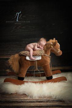 5 day old newborn baby boy cowboy on rocking horse. composite shot. Chesapeake Newborn Photographer www.JourneyThroughLifePhotography.com