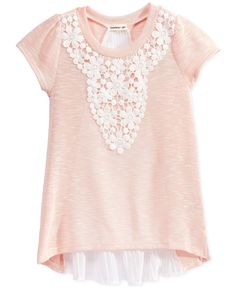 Monteau Girls' Lace-Overlay Top