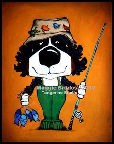 Bernese Mountain dog Fishing Whimsical ART Dog  by tangerinestudio, $45.00