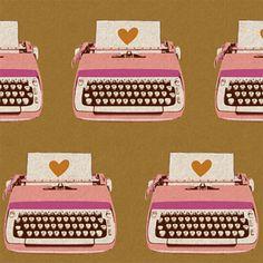 Gold Typewriter Fabric