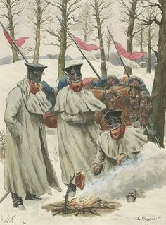 Polish Lancers in Cloaks 1807-14 by Lucien Rousselot