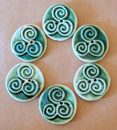 6 Handmade Stoneware Buttons  Triple Spiral Buttons  by beadfreaky, $12.75