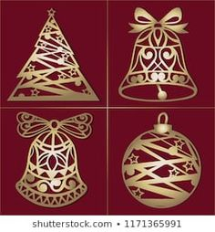 Cartera de fotos e imágenes de stock de Yeresko Natali | Shutterstock Gold Christmas Decorations, Holiday Decor, Christmas Items, Christmas Ornaments, Wood Design, Holidays And Events, Cute Drawings, Paper Cutting, Snowflakes