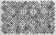 'Save the Stitches' Blocks 1 - 19 finished! Free project from Blackwork Journey www.blackworkjourney.co.uk