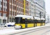 berlin tram in the snow