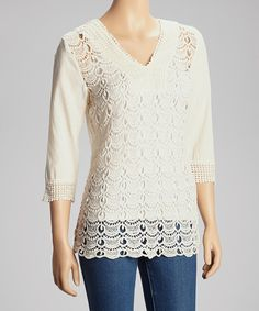 Look at this Ivory Chandelier Crochet Top on #zulily today!