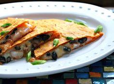 Black bean and shrimp quesadillas