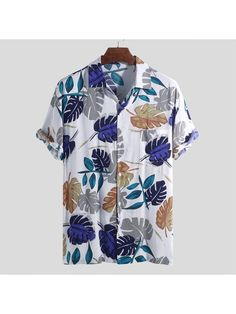 Mens Hawaiian Holiday Floral Printed Rayon Turn Down Collar Short Sleeve Loose Shirts Funky Shirts, Loose Shirts, Printed Shirts, Casual Shirts, Casual Outfits, Men Shirts, Camisa Tribal, Tropical Fashion, King Fashion