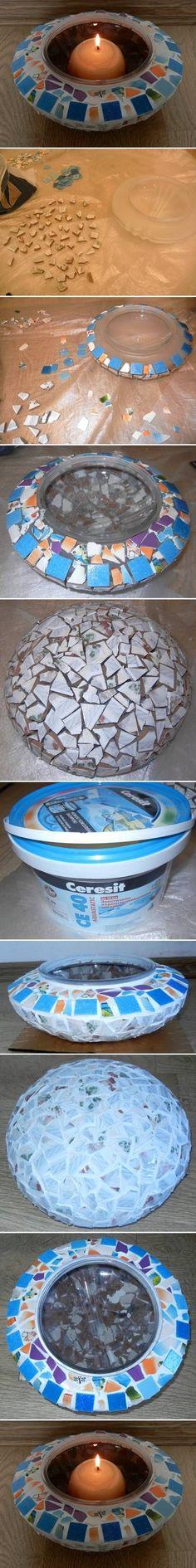 DIY Mosaic Candle Holder DIY Projects / UsefulDIY.com