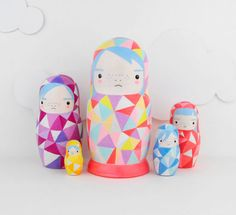 Geometric neon painted modern nesting dolls from Sketch.inc on etsy