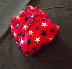 Red Stars One Size Pocket Diaper by HippyChicDiapers on Etsy, $17.50