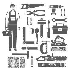 Carpentry Tools Black Silhouettes Icons Set vector art illustration