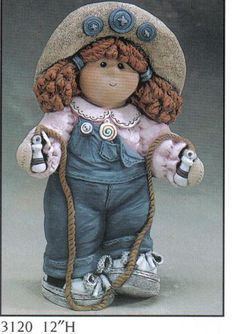 "Button Buddy Girl TomBoy Figurine 12"" 3120 Gare ***, Dolls to Make"