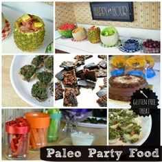 Paleo party food- bacon wrapped pineapple, fruit bowls, stuffed mushrooms, bacon chocolate, vegetables, deviled eggs