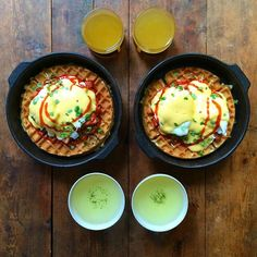 Instagram media symmetrybreakfast - Friday: Inspired by the boys at @duckandwaffle Hot Waffle Benedict (Spicy honey ham, buttermilk waffle, poached egg and hollandaise) with a Genmaicha tea and juice  There is nothing that beats a #WaffleFriday @sageappliances. Served on super nice new plates from @seraxbelgium #SymmetryBreakfast
