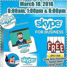 Skype #FREE coaching  Skype for business  March 10, 2016  8am,1pm & 8pm  #book #event #party #partnership #entrepreneur #skype #twitter #business #investment #speakers #speakersden #training #trends #trade #confrence #seminar #leaders #leadership #brand #global #school #career #development #define #coaching #future #NSA16 #vision #mission @johnmaxwellteam
