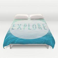 $110-Ocean Duvet Cover - Explore Quote - Nautical - Beach - Blue Green - Bedroom Comforter - Bedding - Home Decor - Twin / Full / Queen / King
