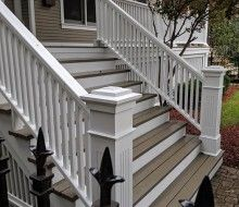 Front Steps, Railings and Newel Posts Porch Step Railing, Front Porch Stairs, Porch Railing Designs, Front Porch Design, Porch Columns, Porch Steps, Front Steps, Railings, Banisters
