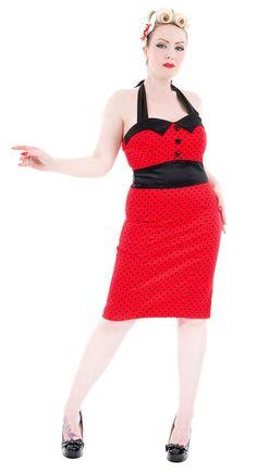 Red Black Polka Dot 50s Pencil Wiggle Dress