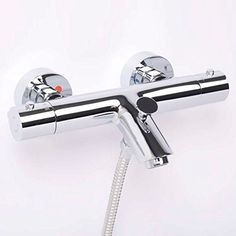 Chrome Modern Design Thermostatic Wall Mounted Bath Shower Mixer Tap