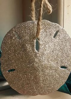 Coastal Beach Ornaments- Super Glitter Sparkle Sand Dollar Ornaments in Silver or Bronze- Beach Weddings, Christmas, Home Decorating