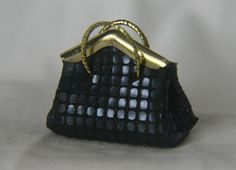 Dark Blue Textured Leather Handbag Dollhouse Miniature