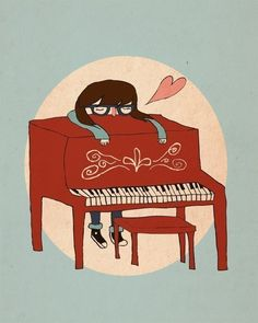 I Love My Piano  5 x 7  Illustration Print by NanLawson on Etsy. , via Etsy.