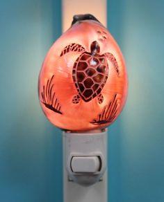 Carved Cowrie Shell Sea Turtle Nightlight (http://www.caseashells.com/carved-cowrie-sea-turtle-nightlight/ #seaturtle, #shellcrafts, #seashellnightlight, #beachbathroomdecor
