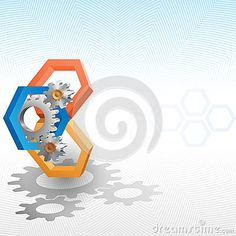 Cogwheels framed by three dimensions hexagon