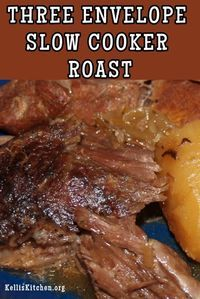 Would definitely use a chuck roast next time, though… TH… This was really good. Would definitely use a chuck roast next time, though… THREE ENVELOPE SLOW COOKER ROAST via Kelli's Kitchen Crockpot Dishes, Crock Pot Slow Cooker, Beef Dishes, Food Dishes, Slow Cooker Beef Roast, Crock Pot Roast, Main Dishes, Eye Round Roast Recipe Slow Cooker, Pork Roast Crockpot