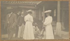 [Alice Roosevelt and Western ladies and gentlemen] Date: 1905 / The Alice Roosevelt party, visiting Korea in 1905, and shown here in the compound of the American legation. Collection: Willard Dickerman Straight and Early U.S.-Korea Diplomatic Relations, Cornell University Library