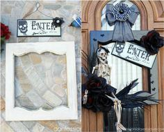 Transform an old cabinet door into a ghoulish Halloween wreath. Get the simple instructions + 7 more spooky Halloween decorations from reclaimed wood >> http://blog.diynetwork.com/maderemade/2015/09/25/7-spooky-halloween-decorations-from-reclaimed-wood/?soc=pinterest