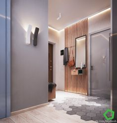 wieszak z pojedynczych listewek na nim haczyki kubiki na pocztę klucze itd modern hallway Apartment Entrance, House Entrance, Apartment Interior, Hallway Decorating, Entryway Decor, Flur Design, Hall Lighting, Lighting Ideas, Small Hallways