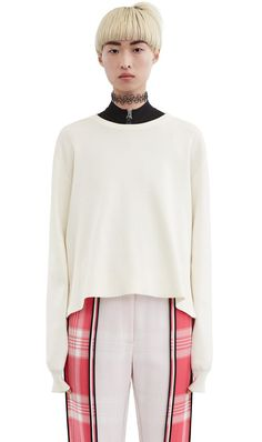 Acne Studios Misty Clean Optic White Iconic boxy sweater White Shop,  Fashion Studio, Cleaning 8a7370333b4