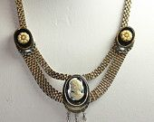 Victorian Revival Cameo Necklace Dangles Faux Pearls