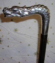 French walking stick - silver dragon
