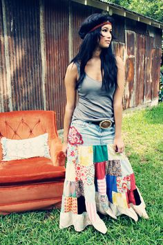 Great idea t recycle the top of jeans that still fit! I have a ton of those! Poor Pitiful Pearl Shoot From the Hip Jean Skirt. Hippie Style, My Style, Junk Gypsy Style, Hippie Boho, Bohemian, Recycle Jeans, Cute Summer Dresses, Hippie Outfits, Diy Dress