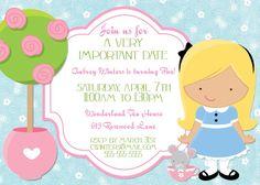 Alice in Wonderland Birthday Party Invitation -- 5x7 Printable Digital File. $15.00, via Etsy.