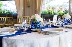 Blue tablescape for